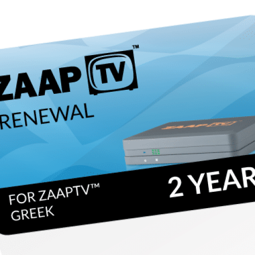ZAAPTV GREEK 2 Year Renewal Card / PIN