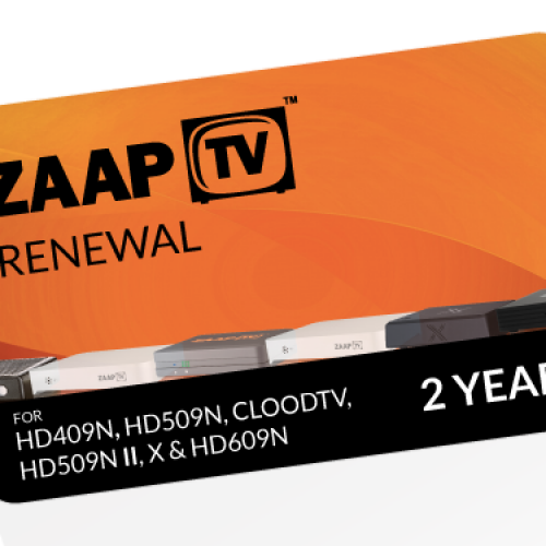 ZAAPTV 2 Year Renewal Card / PIN