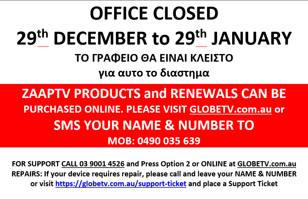 GlobeTV - Christmas and Holiday Office Hours